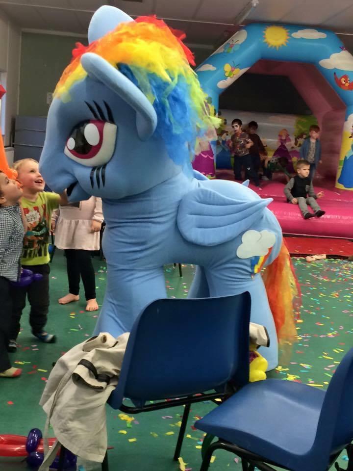 my little pony rainbow dash mascot, bouncy castle hire ...