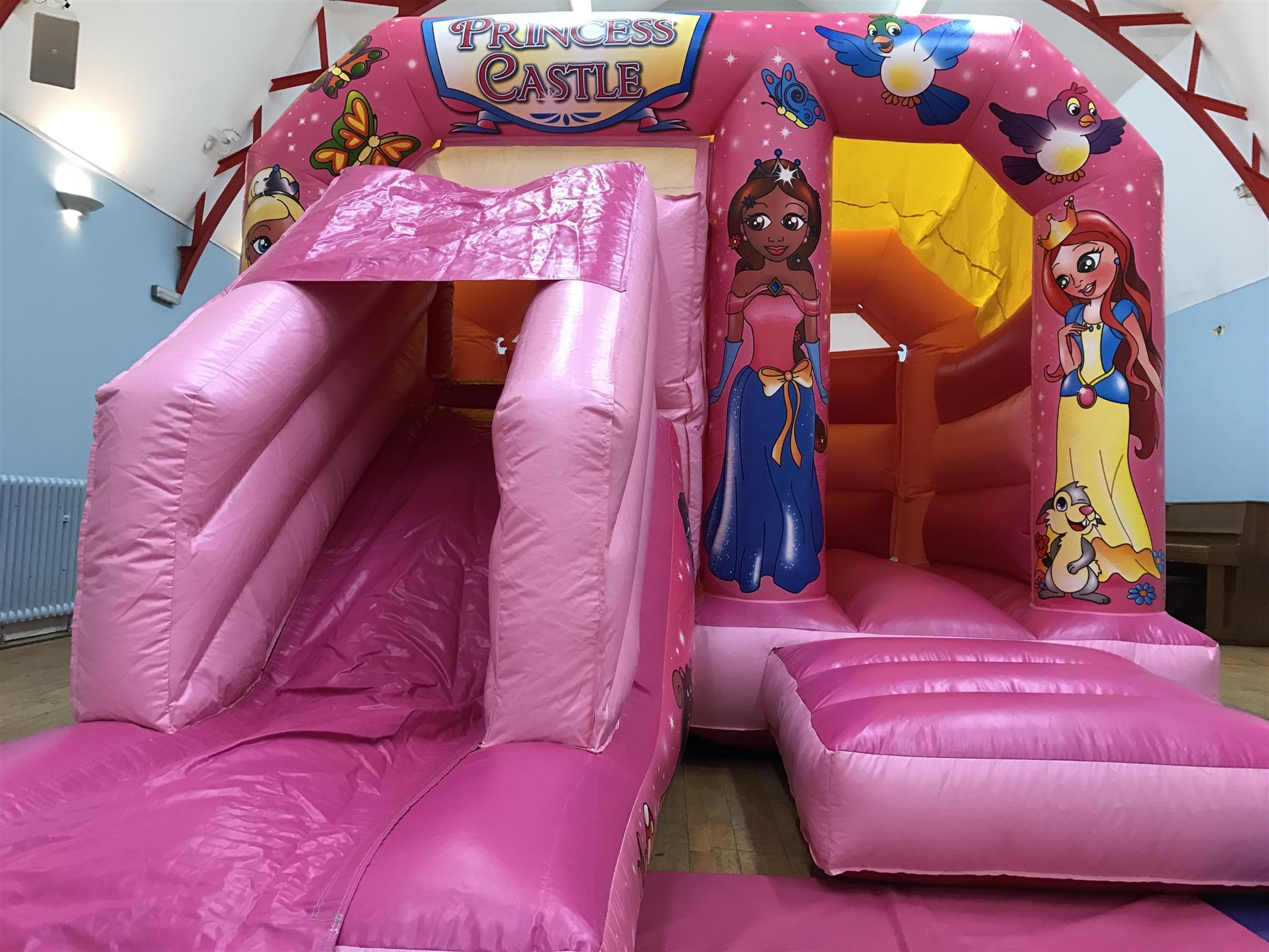 princess bounce & slide combi castle - bouncy castle & soft play
