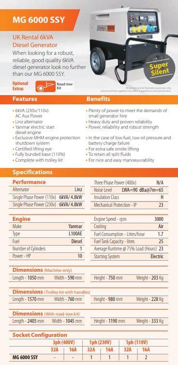 6 Kva Diesel Generator - Bouncy Castles, Hot Tub Hire , Rodeo Bulls