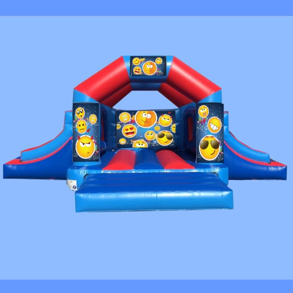 emoji bouncy castle with 2 slides bouncy castle soft play hire