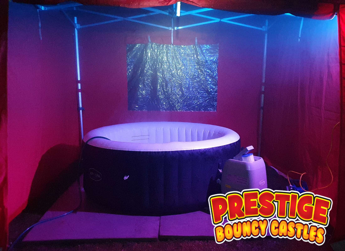 Hot Tub Hire Party Package Including 3m X 3m Gazebo Splash Proof Bluetooth Speaker Gazebo Party Light In Water Party Light 5 Person Hot Tub Bouncy Castles Funfair