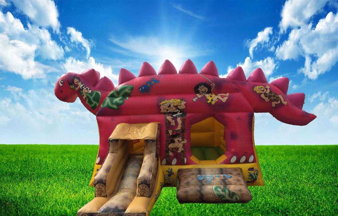 3D Dinosaur Bouncy Castle With Front Slide - Bouncy Castle