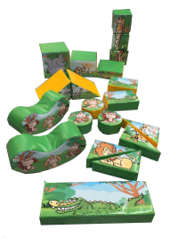 10ft x 8ft 20 Piece Jungle Themed Soft Play Shape Set and Rocker#PERFECT FOR YOUR LITTLE EXPLORER