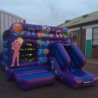 Disco bouncy castle combo 15x18ft (Blue and Purple)