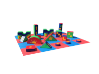 10ft x 8ft 18 Piece Multi Coloured Soft Play Shape Set and Rocker#KEEP EVEN THE SMALLEST OF KIDS HAPPY