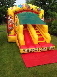 Clown slide and bounce bouncy castle