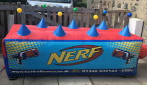 nerf gun wars inflatable target ball game bouncy castle hire in