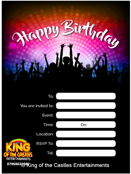 Free Disco Happy Birthday Invites