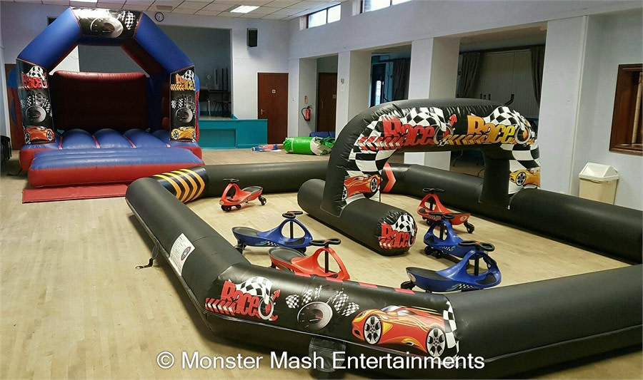 Wiggle Car Race Track And Bouncy Castle